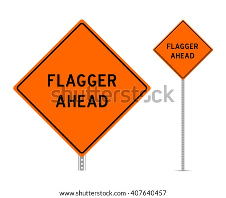 Flagged ahead traffic sign vector