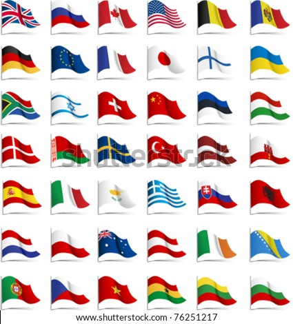 Flags. All elements and textures are individual objects. Vector illustration scale to any size. - stock vector