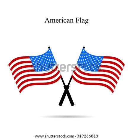 Flags America with shadow on a white  background