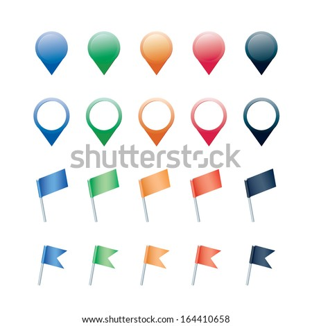 flags and mapping pins isolated on white background - stock vector