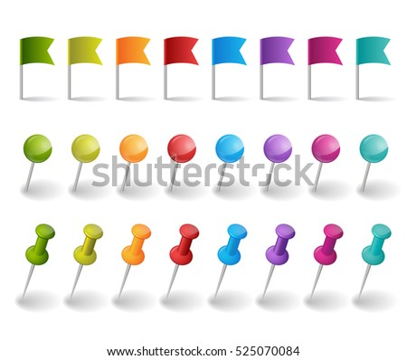 flags and pins in different colors on the white background