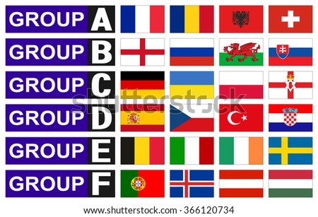flags football championship are divided into groups - stock vector