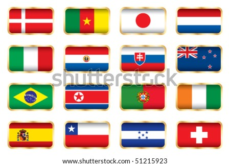 Flags. 16 Football World cup nations (groups E F G H). - stock vector
