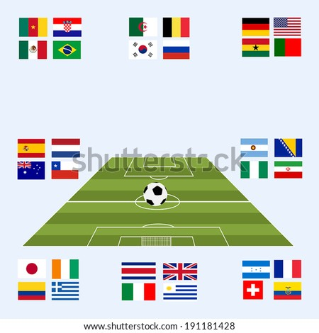 Flags for soccer championship 2014. Groups A to H. 8 groups - stock vector