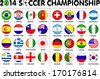 Flags for soccer championship 2014. Groups A to H. 8 groups. 32 nations. Circle designs. Carefully designed. - stock photo