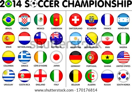 Flags for soccer championship 2014. Groups A to H. 8 groups. 32 nations. Circle designs. Carefully designed. - stock vector
