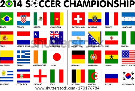 Flags for soccer championship 2014. Groups A to H. 8 groups. 32 nations. Square designs. Carefully designed. - stock vector
