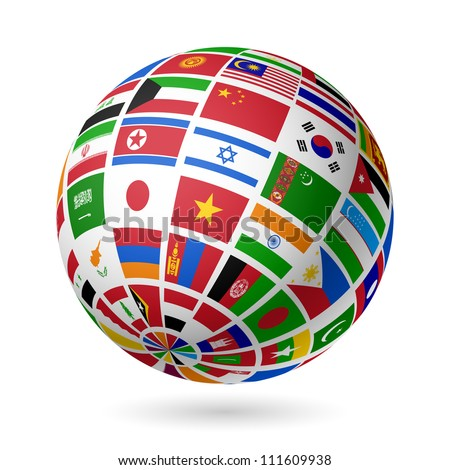 Flags globe. Asia. Vector. - stock vector