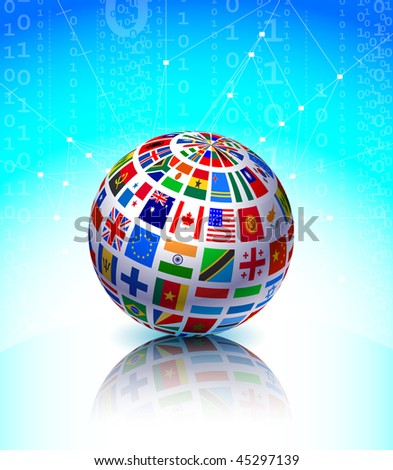 Flags Globe on Binary Code Background Original Vector Illustration