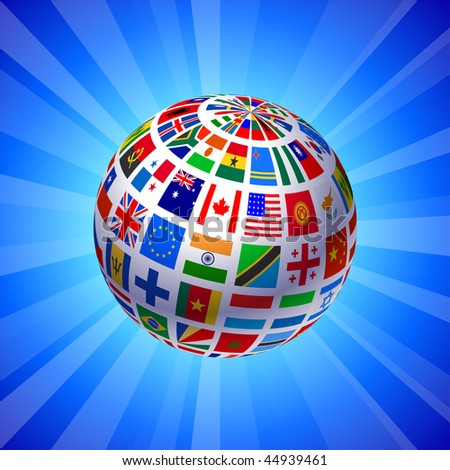 Flags Globe on Blue Background Original Vector Illustration