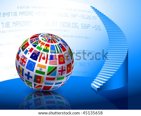 Flags Globe with Stairs Original Vector Illustration