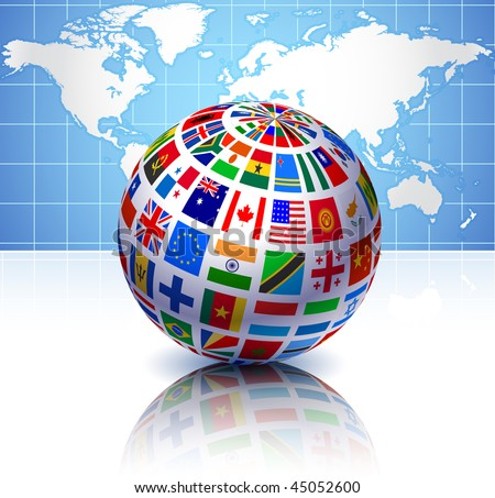 Flags Globe with World Map Original Vector Illustration EPS10 - stock vector