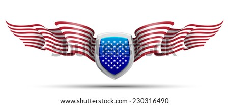 flags heraldry eagle wings Creative background abstract patriotism. USA Happy Independence memorial Day. Patriot vector Illustration.steel metal america chevron badge riband ribbon shoulder epaulettes - stock vector