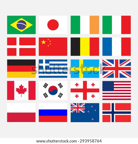 Flags icons in flat style - stock vector