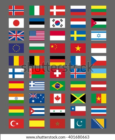 Flags icons in flat style. Simple flags of the countries
