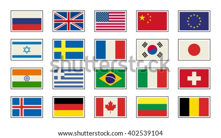 Flags icons in flat style. Simple flags of the countries - stock vector