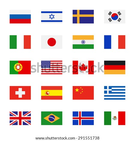 Flags icons in flat style. Simple vector flags of the countries - stock vector