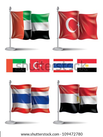 Flags icons: UAE, Turkey, Thailand, Egypt EPS10 file format contains blending, mesh, transparency. - stock vector