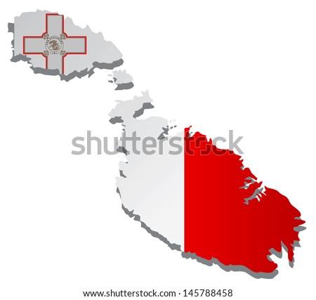 flags map Malta vector illustration - stock vector