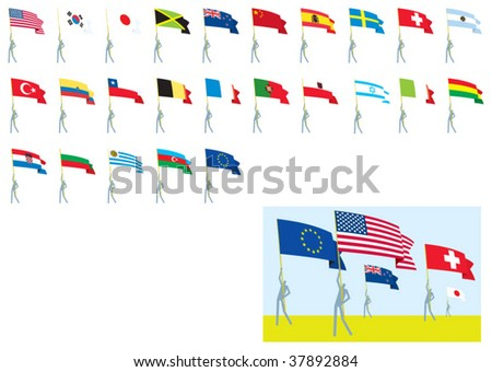 flags national - stock vector