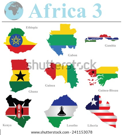 Flags of Africa collection 3 overlaid on outline map isolated on white background - stock vector