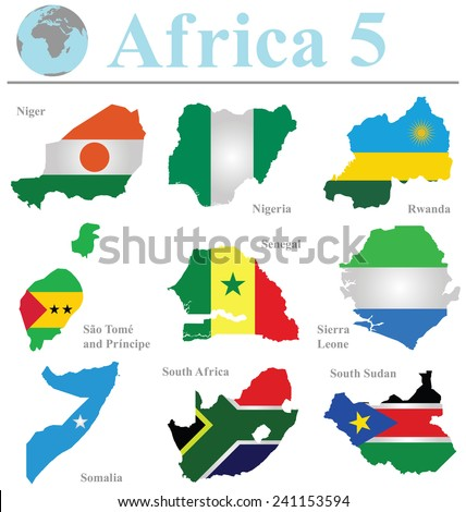 Flags of Africa collection 5 overlaid on outline map isolated on white background - stock vector