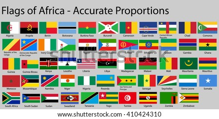 Flags of Africa continent with names - Proper Dimensions - stock vector