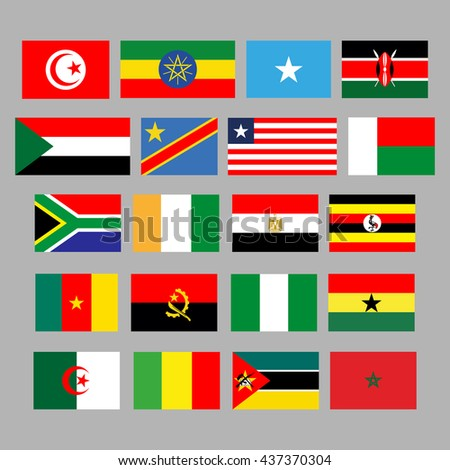 Flags of African countries. 20 correct flags. set