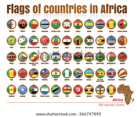 Flags of all countries in Africa in the same file.  Big set. Gold medallion with the flags of the countries of Africa. Vector illustration of flags. - stock vector