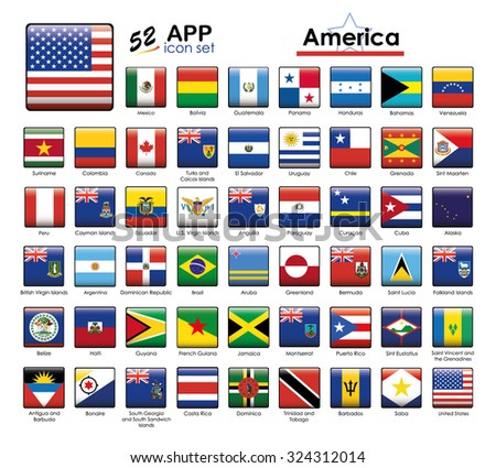 Flags of America icon set. Square buttons suitable for Apps and Websites.