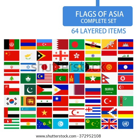 Flags of Asia Complete Set. Flag set in alphabetical order.All elements are separated in editable layers clearly labeled.