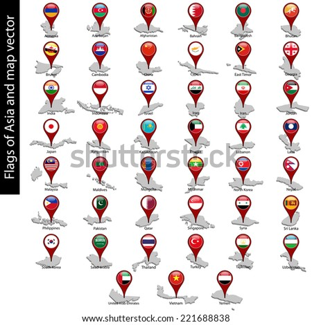Flags of Asia on pin map and map vector set isolated - stock vector
