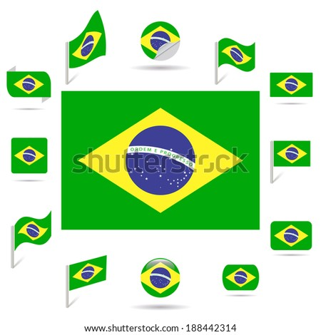 Flags of Brazil. - stock vector