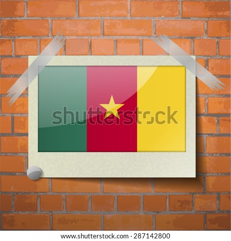 Flags of cameroon scotch taped to a red brick wall. Vector - stock vector