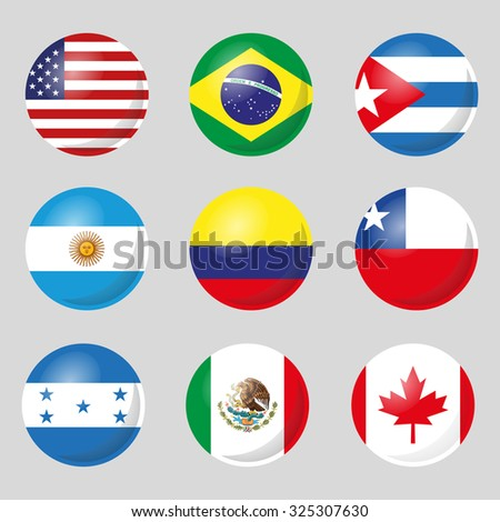 Flags of countries in America - stock vector