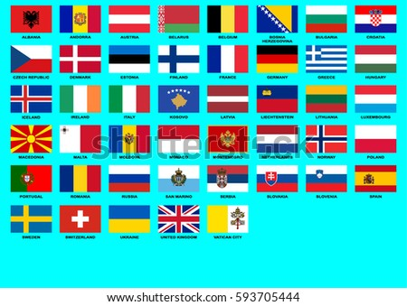 Flags of Countries in Europe with high details