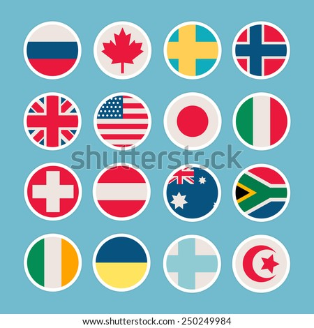 Flags of countries in the form of icons - stock vector