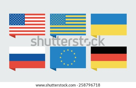 Flags of countries. USA, Ukraine, European Union, Russia, Germany. Vector illustration - stock vector