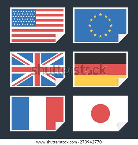 Flags of countries with curved edge - stock vector