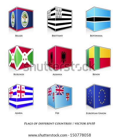 Flags of different countries isolated on white. Vector set.