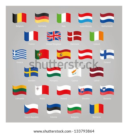 Flags of EU countries - stock vector