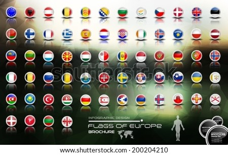 Flags of europe, brochure - stock vector