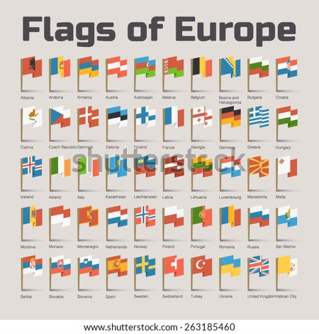Flags of Europe. Vector Flat Illustration with European countries flags in cartoon style - stock vector