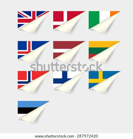 Flags of European countries. Northern Europe - stock vector