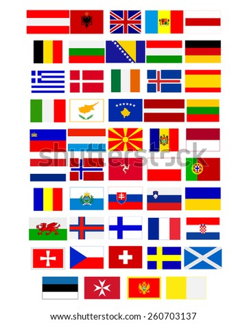 Flags of European countries on a white background