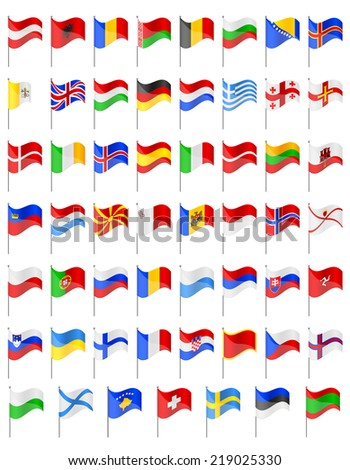 flags of European countries vector illustration isolated on white background