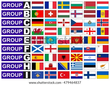 Flags of European qualification group, football World Cup in Russia.