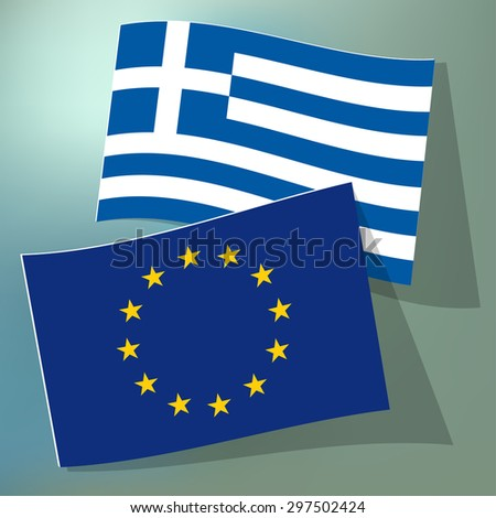Flags of European Union and Greece on a blue bokeh background. - stock vector