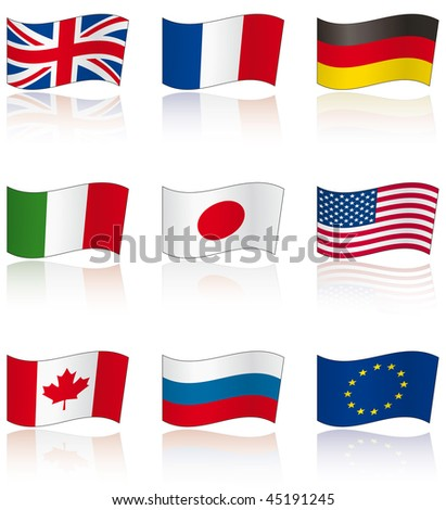 Flags of G8 members (and EU) with reflection on white background - stock vector