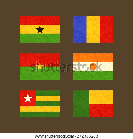 Flags of Ghana, Chad, Burkina Faso, Niger, Togo and Benin. Flags with light grunge dirty effect.